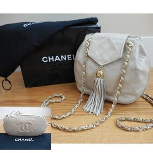 CHANEL~Quilted Flap Top Tassel Bag~Chain Straps